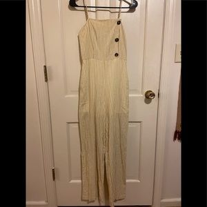 NWT: Altar'd State white/yellow jumpsuit SMALL